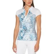 Women's PGA TOUR Tropic Shades Print Short Sleeve Polo Golf Shirt