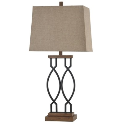StyleCraft Home Collection Black Wood & Metal Transitional Table Lamp