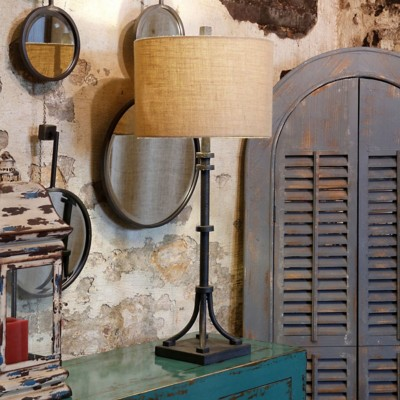 StyleCraft Home Collection Industrial Bronze Iron Base Table Lamp