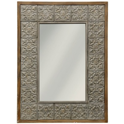 StyleCraft Home Collection Embossed Metal and Wood Framed Wall Mirror with Hangers