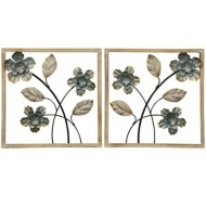 StyleCraft Home Collection Framed Floral I | Set of 2 Traditional Wall Sculptures