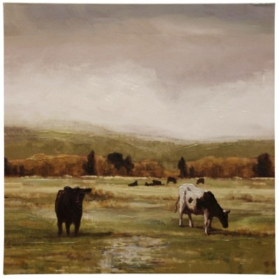 StyleCraft Home Collection Cattle Graze I | Stretched Canvas | Hand Embellished