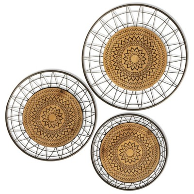 StyleCraft Home Collection Aztec Rings | Set of 3 | Metal & Wood Wall Art