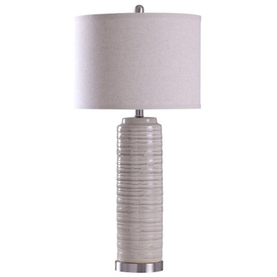 StyleCraft Home Collection Anastasia Solid Ceramic Fabric Wrapped Table Lamp