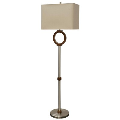 StyleCraft Home Collection Well Wood  Contemporary Portal Floor Lamp with LED Lighting Table Lamp