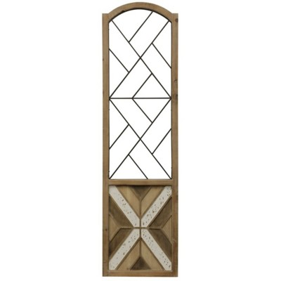 StyleCraft Home Collection Geometric Shutter Panel | Natural Wood and Metal Wall Hanging