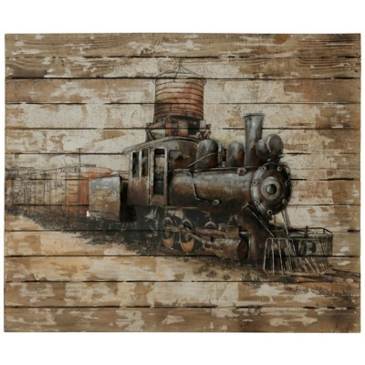 StyleCraft Home Collection Steam Engine Locomotive | Natural Wood and Metal Wall Hanging