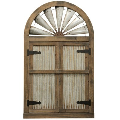 StyleCraft Home Collection Rustic Barn Door Mirror   Natural Weathered Wood and Galvanized Metal Wall Decor