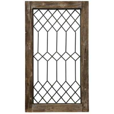 StyleCraft Home Collection Vintage Window Panel | Wood and Metal Window Pane Wall Decor