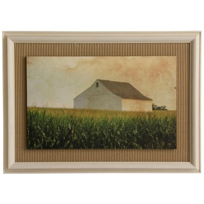 StyleCraft Home Collection White Barn In The Corn Farmhouse Wall Art