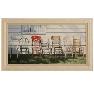 StyleCraft Home Collection Chair Collection Faux Wood with Canvas Print