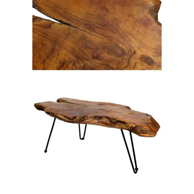 StyleCraft Home Collection Badang Carving Natural Teak Coffee Table