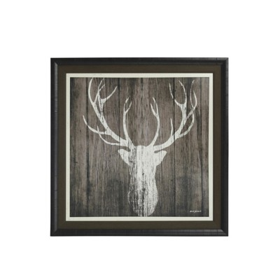 StyleCraft Home Collection Sophisticated Deer Textured Print Custom Framed
