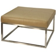 StyleCraft Home Collection Genuine Camel Leather Ottoman with Metal Frame