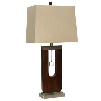 StyleCraft Home Collection Burlingham Dark Oak & Metal Base Table Lamp
