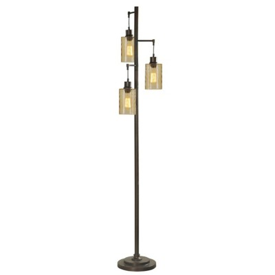StyleCraft Home Collection Bronze with Champagne Pendant Dimpled Glass Floor Lamp