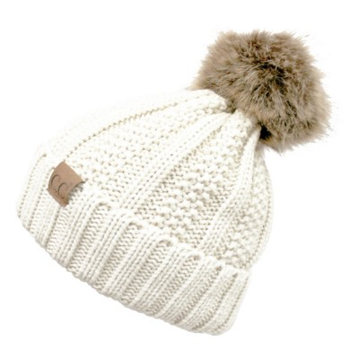 069aefacd9c Women s CC Cable Sherpa Fur Pom Beanie
