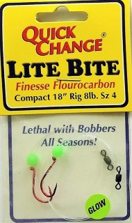 "Lite Bite Fluorocarbon Finesse Bead Rig  18"" 2PK"