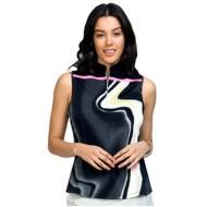 Women's Jamie Sadock Printed Zipped Sleeveless Polo