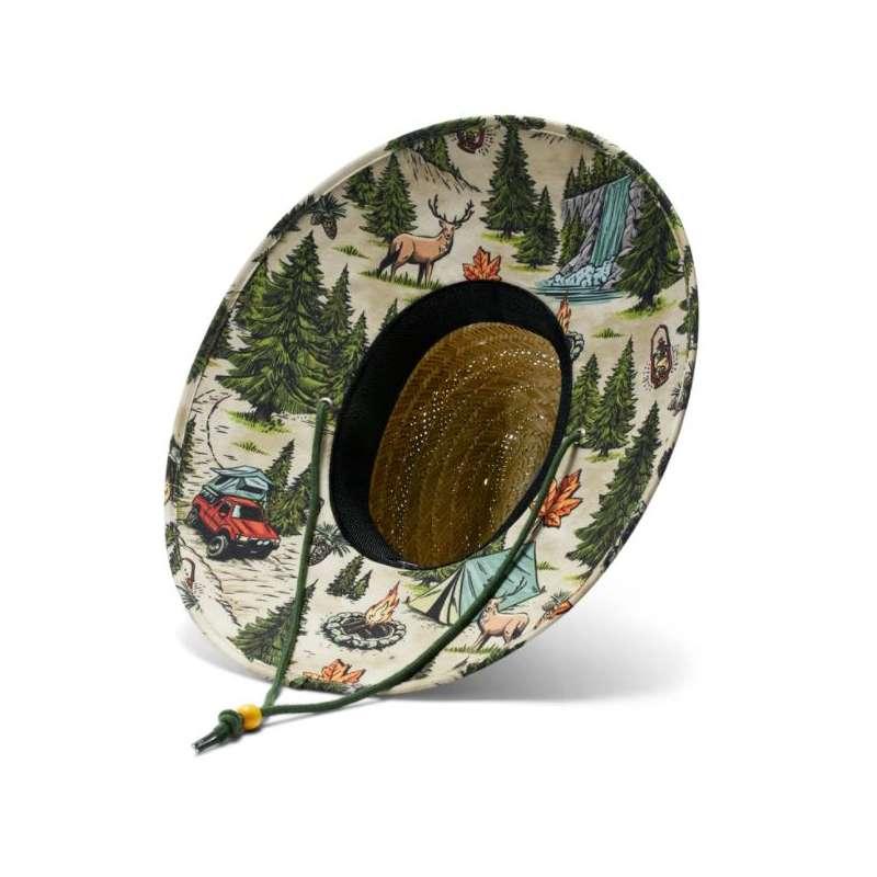 Adult Hemlock Hat Co Printed Brim Straw Hat