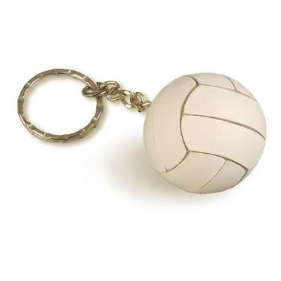 Tandem White Volleyball Keychain