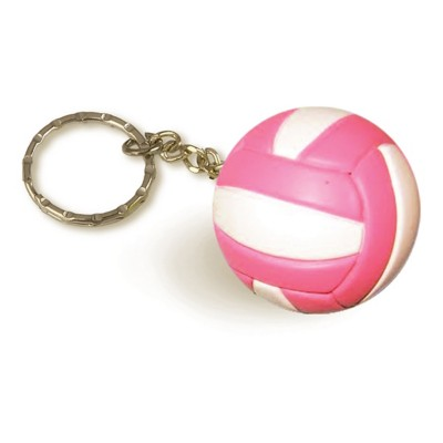 Tandem Pink and White Volleyball Keychain