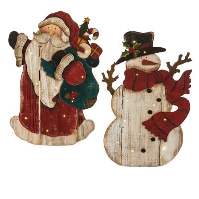 Midwest-CBK 2 pc ppk Lighted LED Snowman & Santa