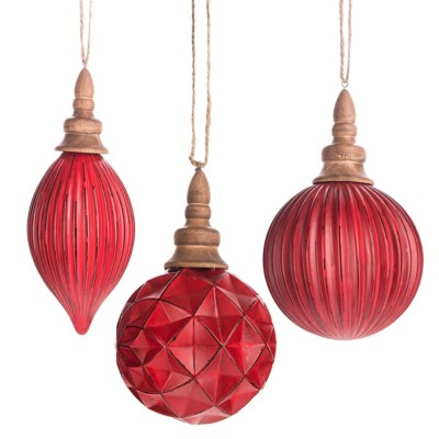Midwest-CBK Assorted Red Ball & Drop Ornament