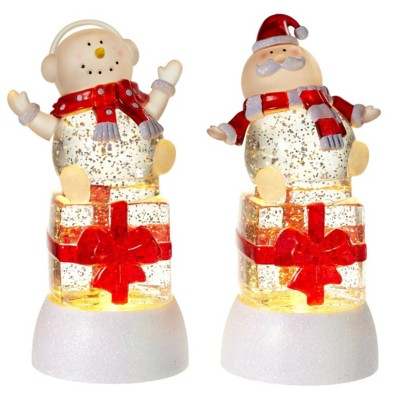 Midwest-CBK 2 pc ppk Lighted LED Shimmer Santa and Snowman on Gift Box