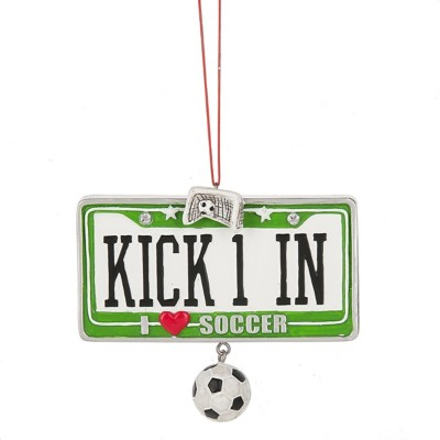 "Midwest-CBK ""KICK 1 IN I Heart Soccer"" Soccer Ornament"