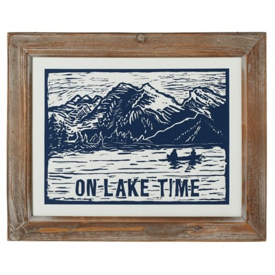 "Midwest-CBK ""On Lake Time"" Framed Blockprint Wall Decor"