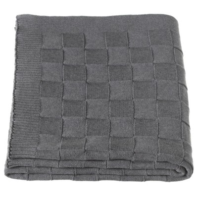 Midwest-CBK Grey Checkered Knit Throw