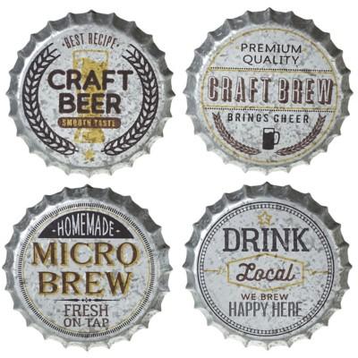 Midwest-CBK Galvanized Beer Bottle Cap Wall Decor (4 asstd)