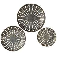 Midwest-CBK Distressed Galvanized Round Wall Decor with Cut-outs set/3