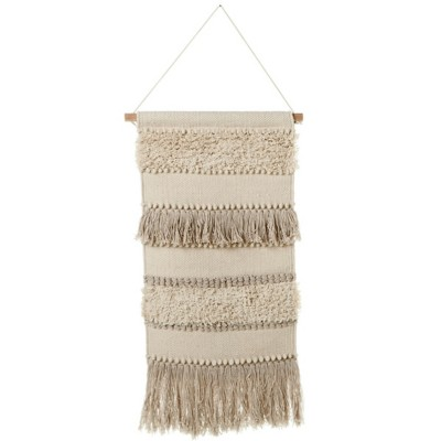 Midwest-CBK Hand Woven Ivory Pom & Fringe Wall Hanging (Each One Will Vary)