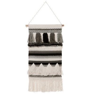 Midwest-CBK Hand Woven Ivory & Grey Wall Hanging with Tassels (Each One Will Vary)