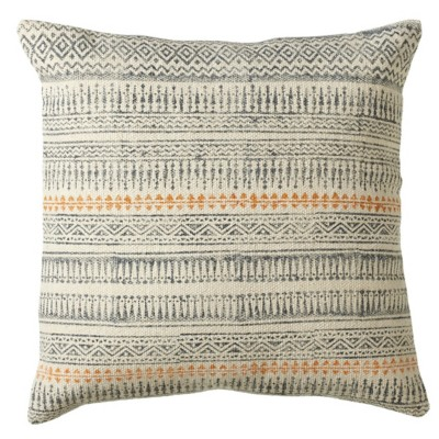 Midwest-CBK Grey Blue Block Print Pillow (Each One Will Vary)