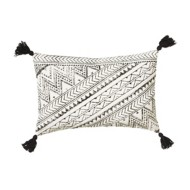 Midwest-CBK Black & White Block Print Pillow with Tassels (Each One Will Vary)