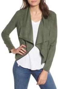 Women's Blank NYC Drape Front Faux Suede Jacket