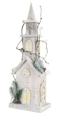 """Melrose International Pre-lit  22"""" Wooden Church"""