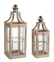 Melrose International Light Wood Windowpane Lantern