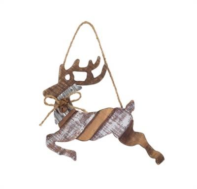 Melrose International Wooden Hanging Deer Ornament