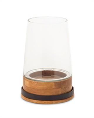 "Melrose International 8"" Tapered Wood & Glass Candleholder"