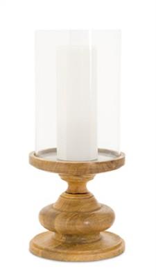 "Melrose International 16"" Wood Pedestal Candleholder"