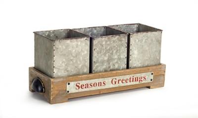 Melrose International Seasons Greeting Tray with Pots