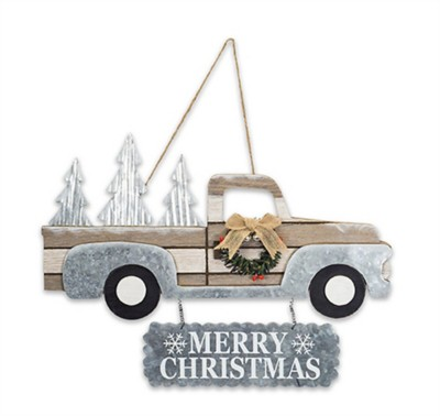 Melrose International Merry Christmas Metal & Wood Truck Sign