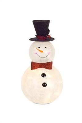 """Melrose International 16"""" Timer Glass Snowman"""