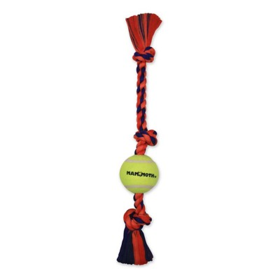 """MAMMOTH 3 Knot Flossy Chew with 3"""" Tennis Ball Dog Toy"""