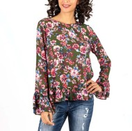 Women's KUT from the Kloth Trixy Peplum Long Sleeve Shirt