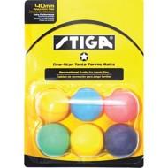 STIGA Multicolor One Star 6-Pack Table Tennis Balls
